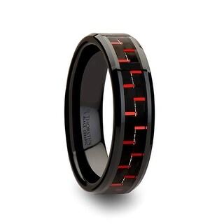 THORSTEN - ANTONIUS Beveled Black Ceramic Ring with Black & Red Carbon Fiber - 6mm