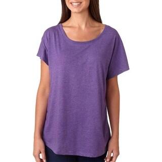 Next Level Women's Tri-Blend Dolman Scoop Neck T-Shirt - Purple Rush - Small