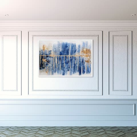 Oliver Gal 'Path to You Gold' Abstract Framed Wall Art Prints Paint - Blue, Gold