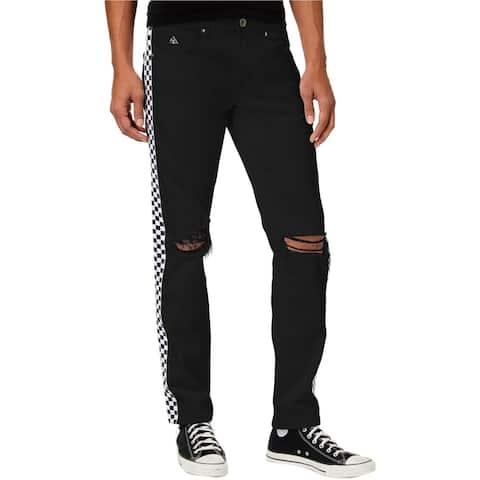 American Stitch Mens Checker Straight Leg Jeans, Black, 36W x 33L - 36W x 33L