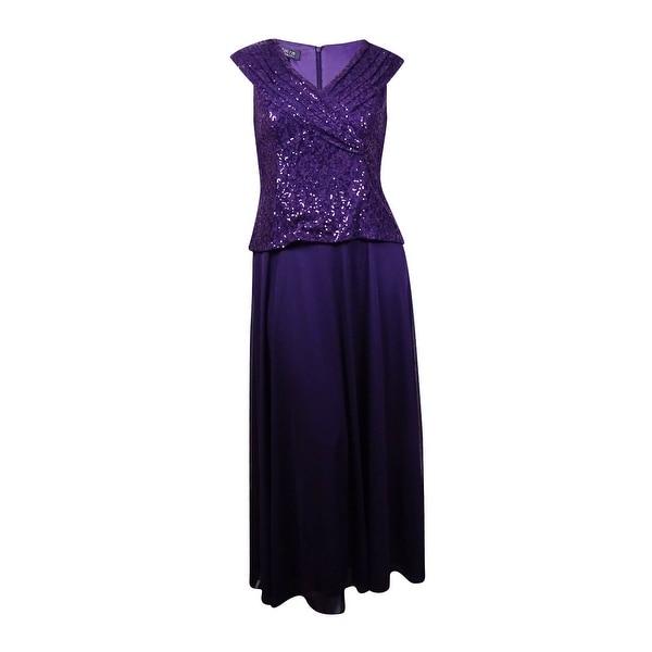 Patra Women's Sleeveless Sequin Lace Popover V-Neck Chiffon Dress - Plum