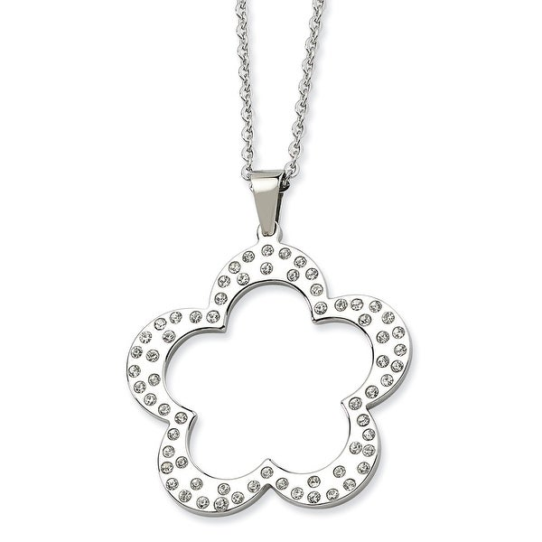 Chisel Stainless Steel Polished Flower with CZs Pendant 24 Inch Necklace (1 mm) - 24 in