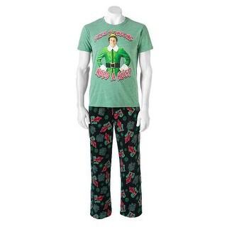 Elf Men's 2-Piece Sleep Set Fleece Lounge Pants & Shirt - Multi - Small
