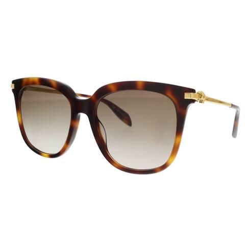 Alexander McQueen AM0107S 002 Gold Rectangle Sunglasses - 55-19-135