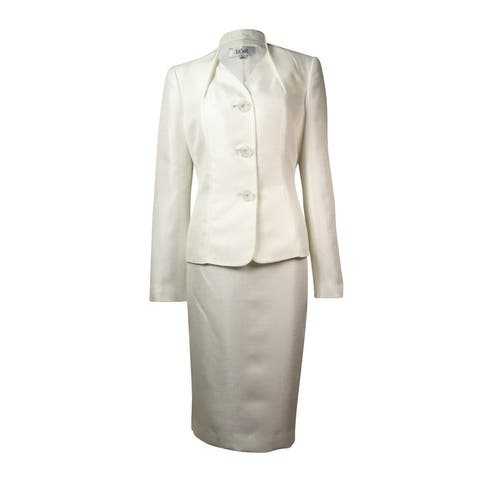 Le Suit Women's English Garden Shimmer Skirt Suit