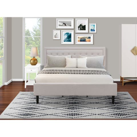 Fannin Bedroom Set with Wood Bed Frame and Modern Nightstand - Mist Beige Linen Fabric - ( End Table Piece Option )