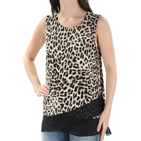 b8fddf921ab Shop VINCE CAMUTO Womens Beige Animal Print Sleeveless Jewel Neck Top Size   S - On Sale - Free Shipping On Orders Over  45 - Overstock - 21591077