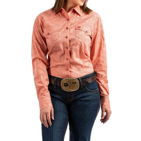 Cinch Western Shirt Womens Paisley Print L/S Snap Coral