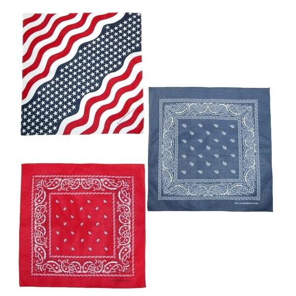 CTM® Wavy American Flag and Paisley Bandana Kit (Pack of 3)