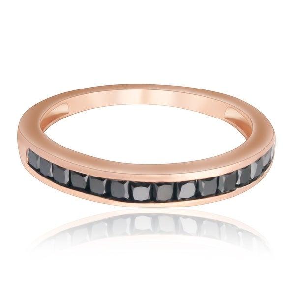 Brand New 0.79 Carat Princess Cut Channel Set Black Diamond Anniversary Ring