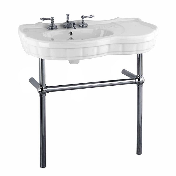 Shop white bathroom console sink with metal legs southern - Bathroom console sink metal legs ...