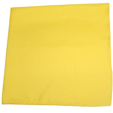 100% Premium Polyester Sewn Edges XL Solid Bandana - 27 x 27 Inches - Pack of 6