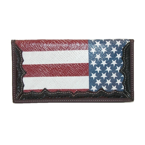 3 D Belt Company Leather Hand-tooled American Flag Rodeo Checkbook Cover - One size