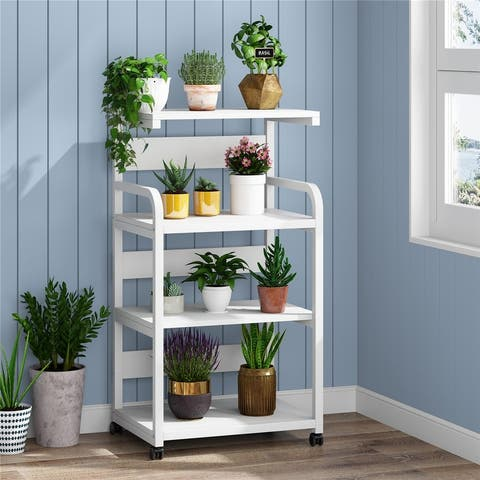 Office Storage Printer Stand with Wheels, 4-Shelf Mobile Printer Stand with Storage Shelves