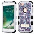 Insten Purple/ White European Flowers Tuff Hard PC/ Silicone Dual Layer Hybrid Case Cover with Stand For Apple iPhone 7 - Thumbnail 0