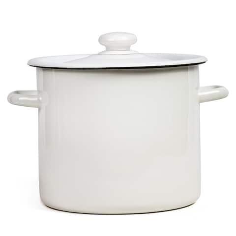 STP Goods 7.4 Qt Enamel on Steel White Large Stock Pot