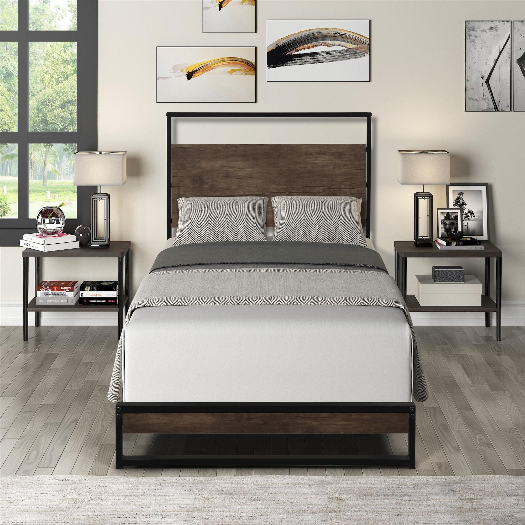 Twin Metal Bed Frame With Wood Slats On Sale Overstock 32654849