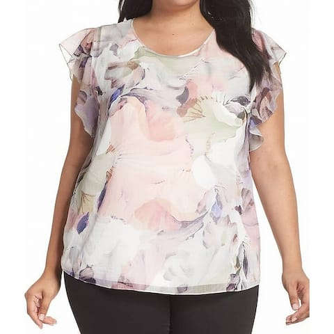 Vince Camuto Pink Womens Size 2X Plus Ruffle Floral-Print Blouse