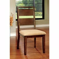 Side Chair With Fabric Cushion, Dark Oak Finish, Set Of 2