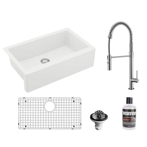 Karran All-in-One Apron Front/Farmhouse Quartz 34-in Single Bowl Kitchen Sink in White with Faucet KKF220 in Stainless Steel
