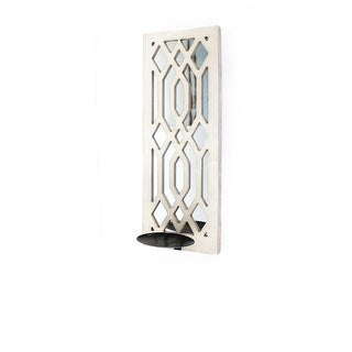 White Traditional Wooden Cross Candle Holder Sconce Set of 2