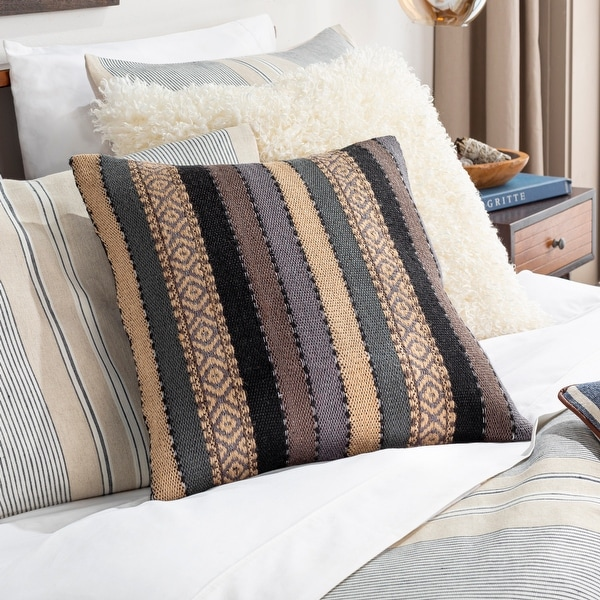 Juneau Hand Woven Striped Boho Throw Pillow. Opens flyout.