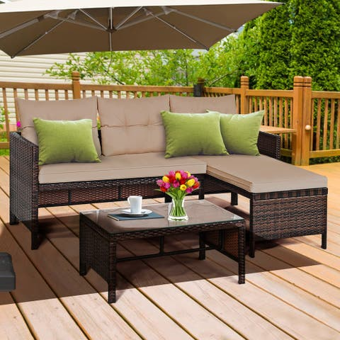 Gymax 3PC Rattan Furniture Set Outdoor Patio Couch Sofa Wicker Set - 3-piece