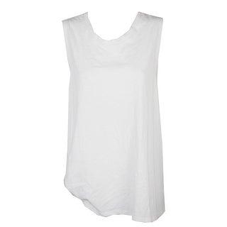 Whitespace Plus Size White Sleeveless Side Twist T-Shirt 2X