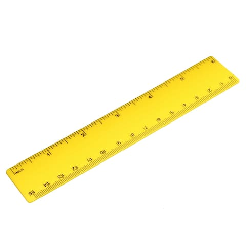 Plastic Ruler 15cm 6 inches Yellow Measuring Tool for Office