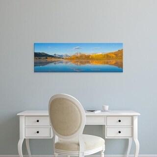 Easy Art Prints Panoramic Images's 'Sunrise at Oxbow Bend, Grand Teton National Park, Wyoming, USA' Premium Canvas Art