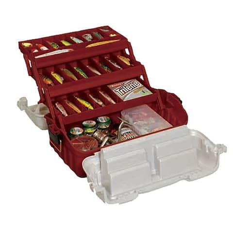 Plano 7603-01 plano flipsider three-tray tackle box maroon/silver