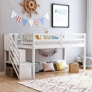Link to Merax Twin Wood Floor Loft Bed with Stairs and Storage Shelves Similar Items in Kids' & Toddler Furniture