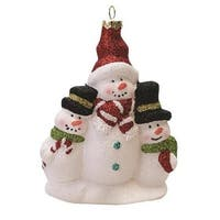 """4.5"""" Merry & Bright White, Red and Green Glitter Shatterproof Snowman Family Christmas Ornament"""
