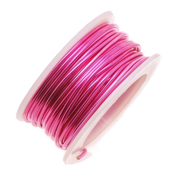 Artistic Wire, Silver Plated Craft Wire 24 Gauge Thick, 10 Yard Spool, Fuchsia Hot Pink