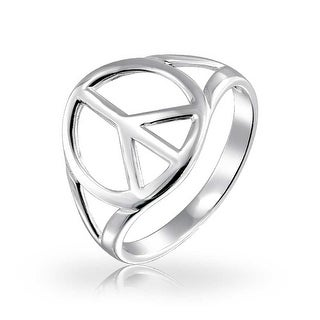 Bling Jewelry 925 Sterling Silver Peace for Life Symbol Ring