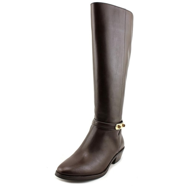 Coach Caroline Women Round Toe Leather Brown Knee High Boot