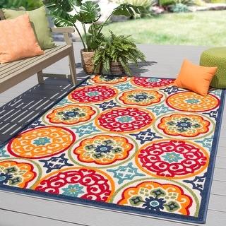 Medina Indoor/ Outdoor Medallion Multicolor Area Rug