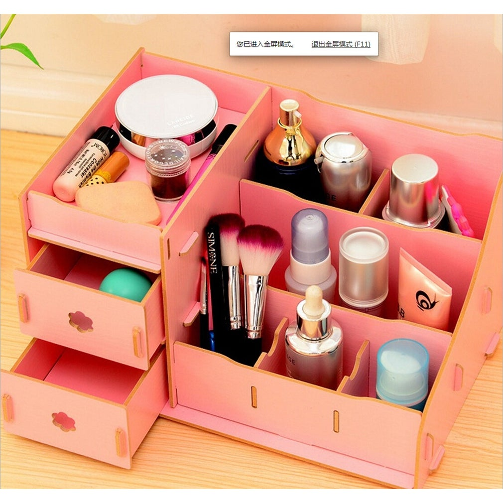 Shop Diy Multi Colour Wood Cosmetic Storage Box Desk Cantainer Drawer Multi Layers Jewelry Organizer Holder Big Size Pink Overstock 28665827