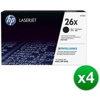 HP 26X High Yield Black Original LaserJet Toner Cartridges (CF226X)(4-Pack)