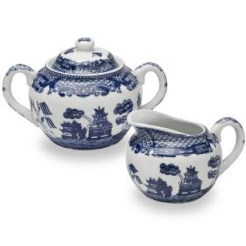 Big Kitchen YK-329 Blue Willow Porcelain Sugar & Creamer, Set Of 2