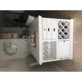 Tia Contemporary Antique White 5- Piece Kitchen Island Set by FOA