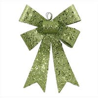 NorthLight 7 in. Lime Green Sequin And Glitter Bow Christmas Ornament