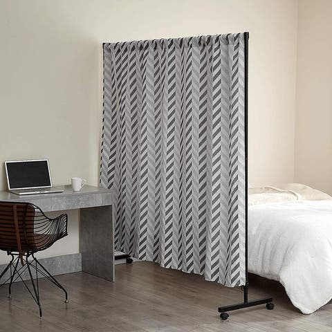 Don't Look at Me - Expandable Privacy Room Divider - Black Frame with Jacquard Fabric