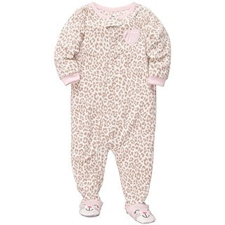 Carter's Little Girls' One Piece Footed Fleece Pink Leopard Heart -4T