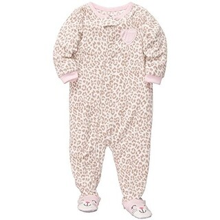 Carter's Little Girls' One Piece Footed Fleece Pink Leopard Heart -4T - leopard heart