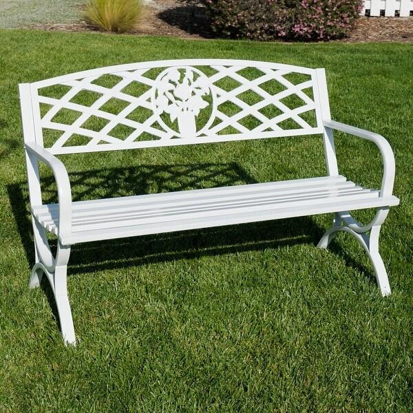 "Belleze 50"" inch Outdoor Park Bench Garden Backyard Furniture Chair Porch Seat Steel Frame"