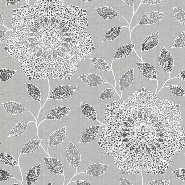 Brewster 2618-21315 Shirazi Silver Bohemian Floral Wallpaper - silver bohemian floral