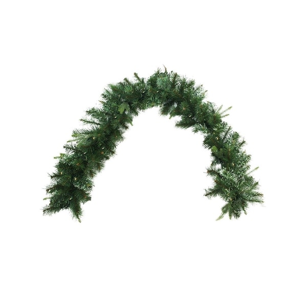 """6' x 14"""" Pre-Lit Cashmere Mixed Pine Artificial Christmas Garland - Warm White LED Lights - green"""