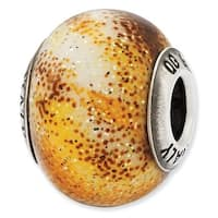 Italian Sterling Silver Reflections Yellow & Brown Glass Bead