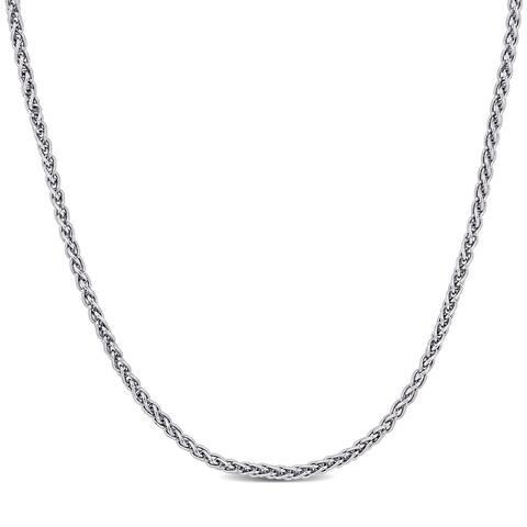 Miadora Sterling Silver Wheat Chain Necklace